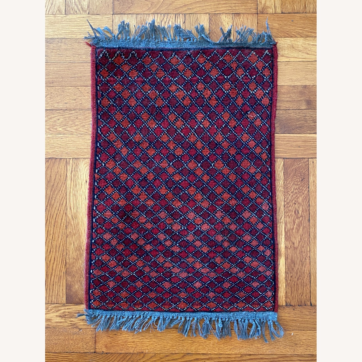 Small Geometric Patterned Afghani Rug - image-1