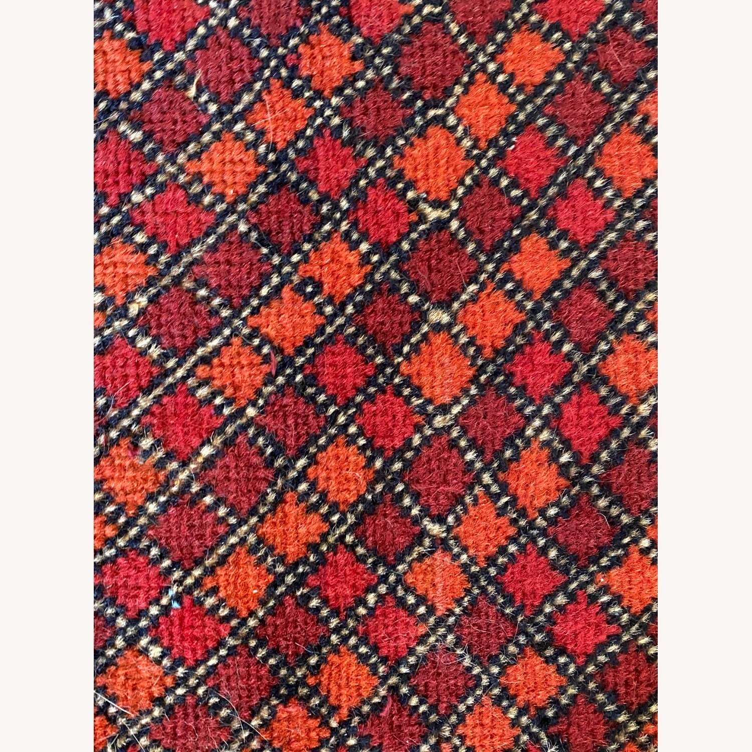 Small Geometric Patterned Afghani Rug - image-2