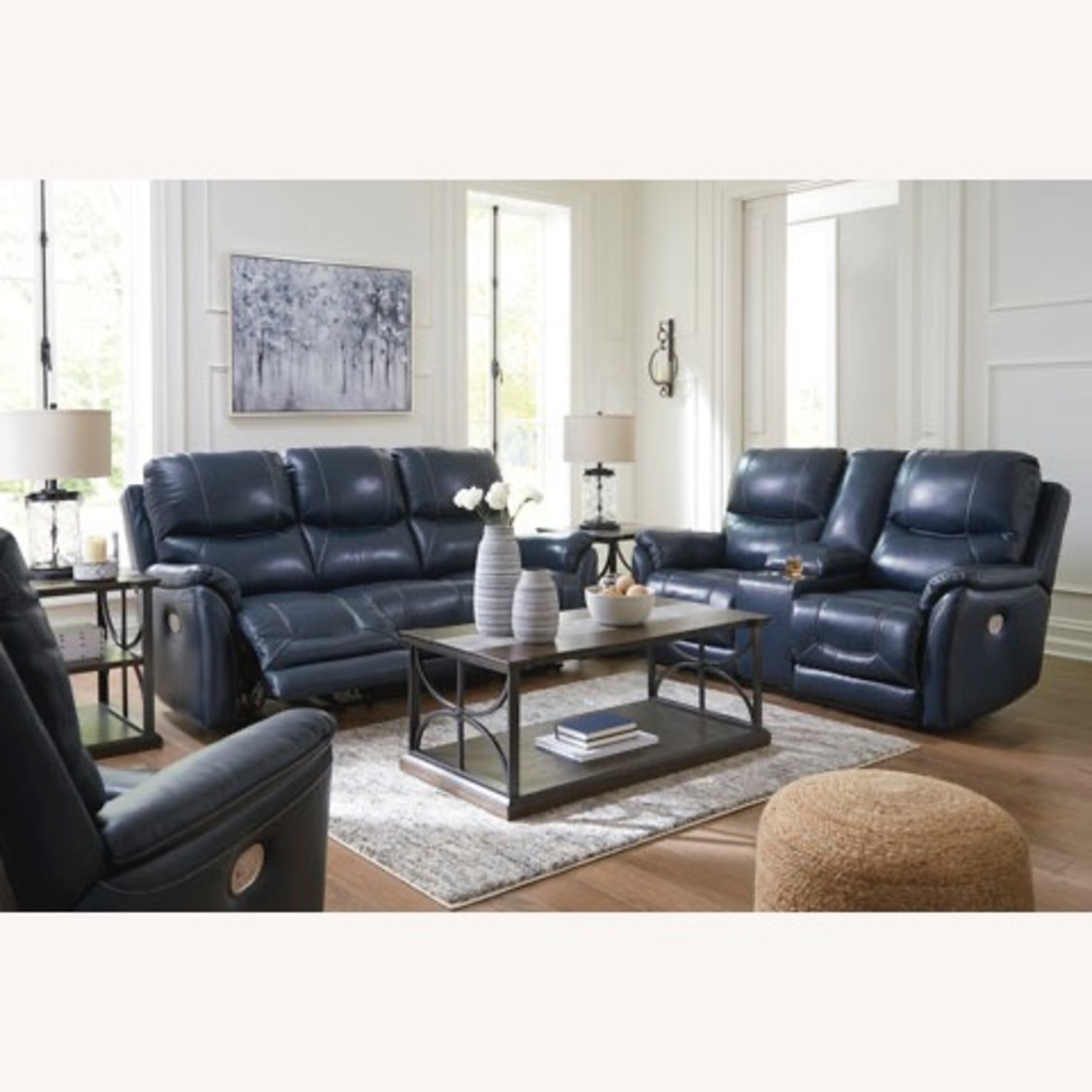 Ashley Furniture Genuine Leather Power Reclining Sofa - image-6