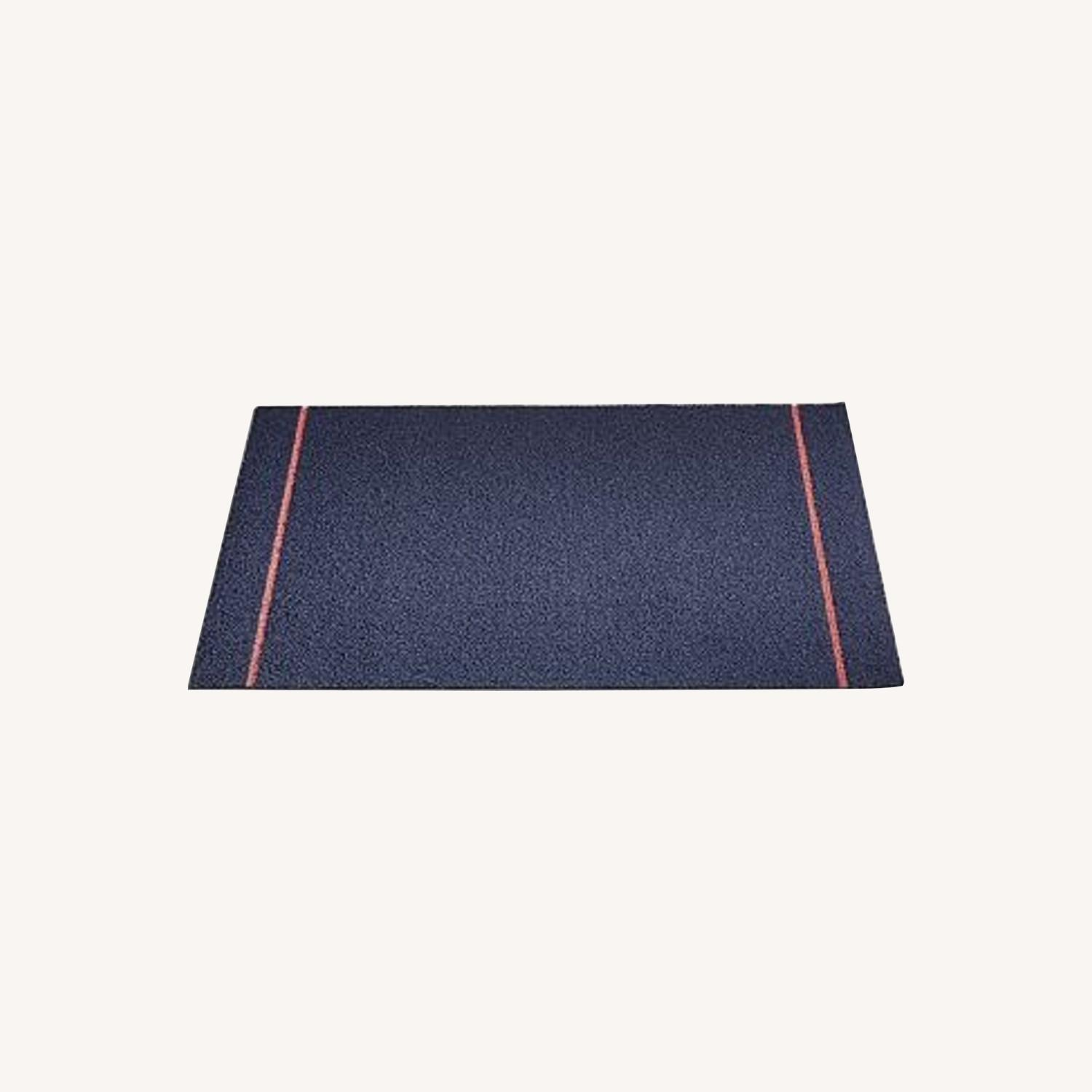 Chilewich Skinny Stripe Shag Mat, Navy Coral - image-0