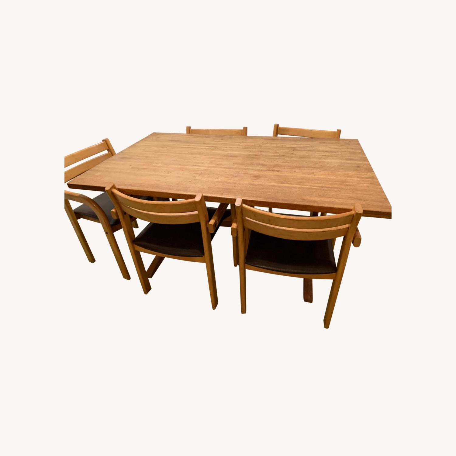 Wood Dining Table and 6 Chairs - image-0