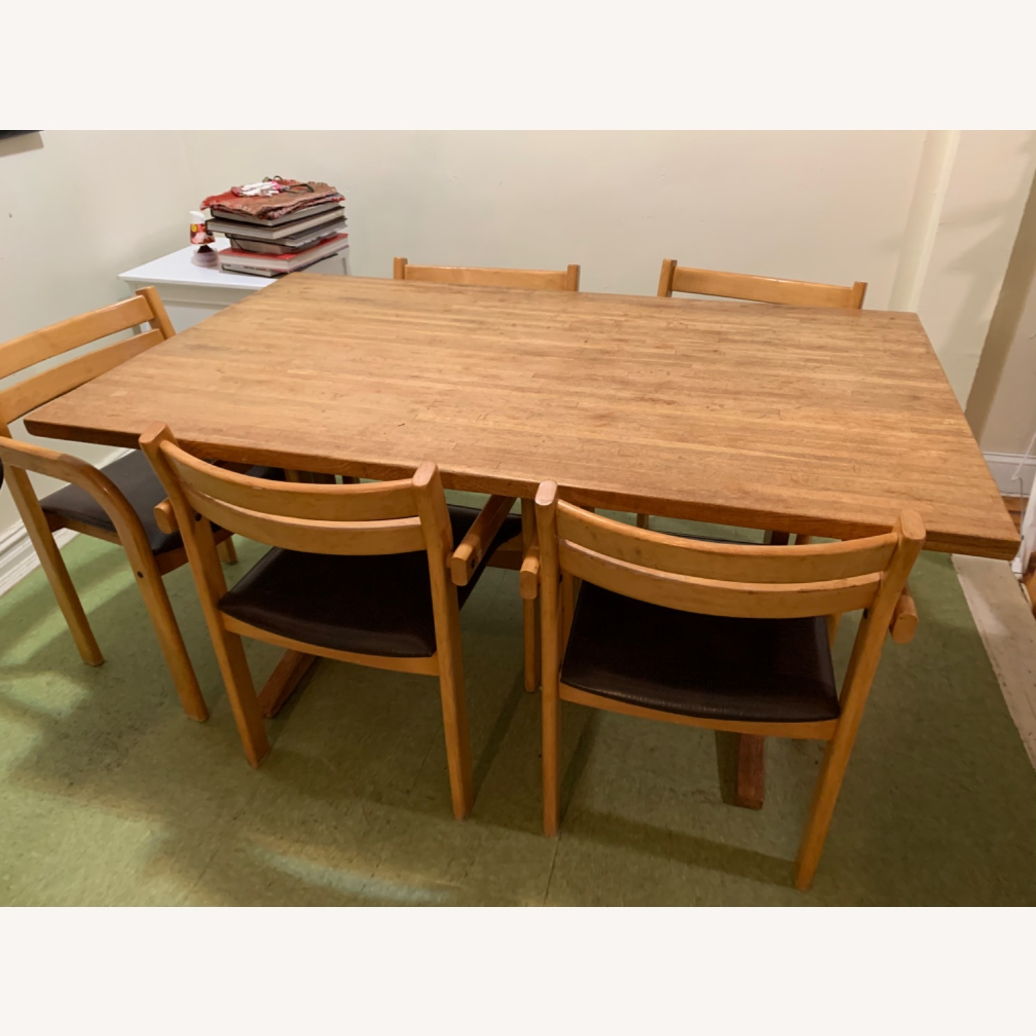 Wood Dining Table and 6 Chairs - image-1