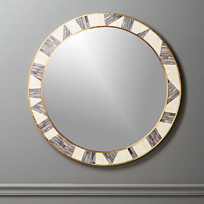 CB2 Grace Bone Inlay Round Wall Mirror 32 - image-4