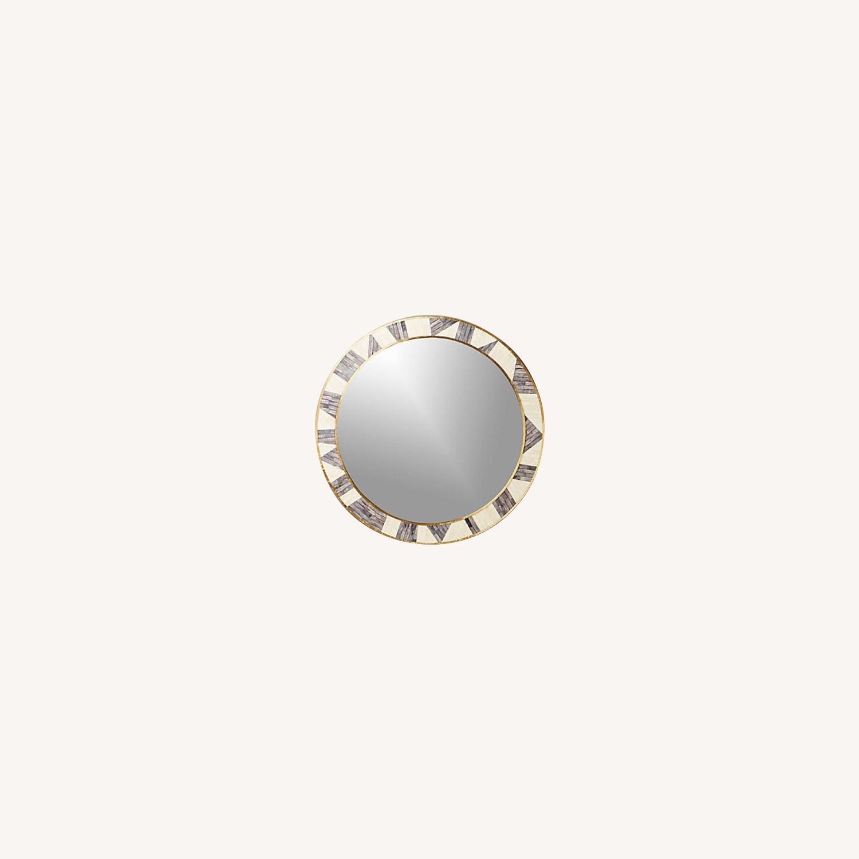 CB2 Grace Bone Inlay Round Wall Mirror 32 - image-0