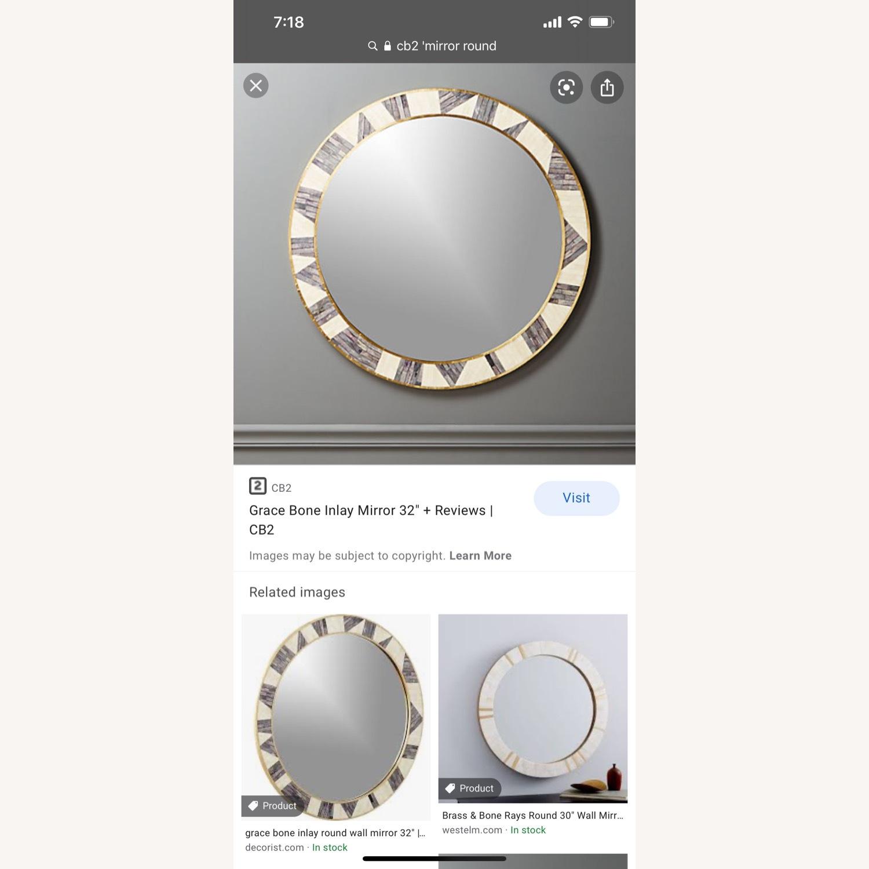 CB2 Grace Bone Inlay Round Wall Mirror 32 - image-1