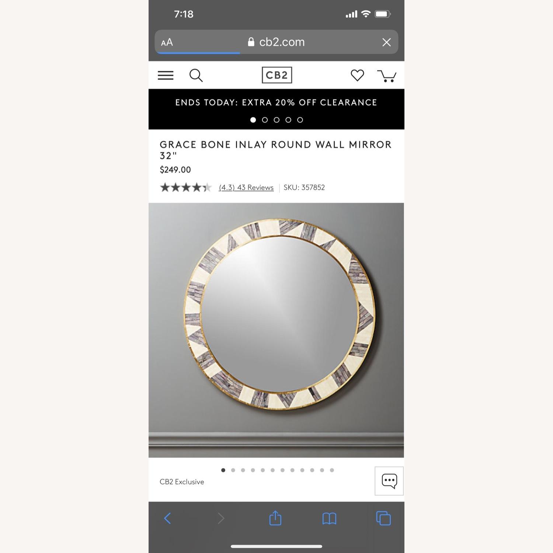 CB2 Grace Bone Inlay Round Wall Mirror 32 - image-2