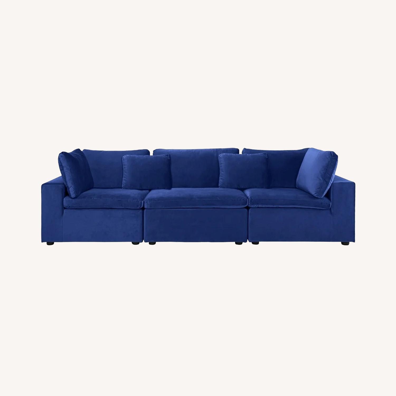 Royal Blue Large Classic Living Room Sofa - image-0