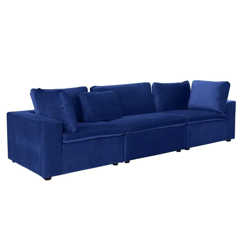 Royal Blue Large Classic Living Room Sofa - image-2