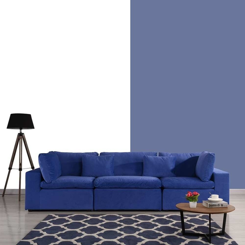 Royal Blue Large Classic Living Room Sofa - image-4