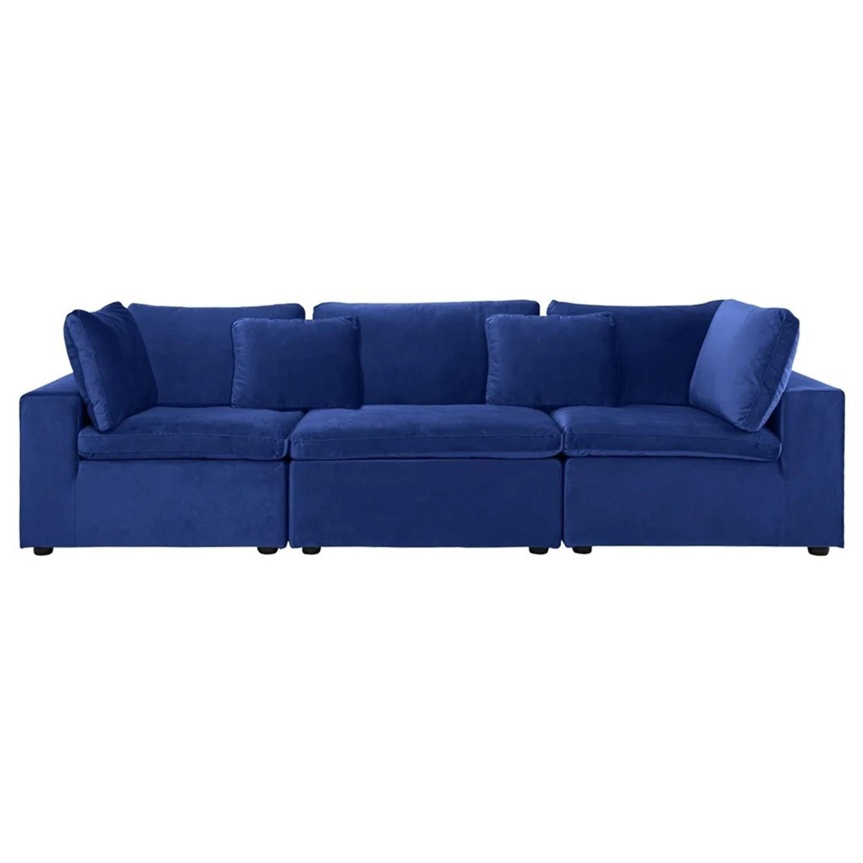 Royal Blue Large Classic Living Room Sofa - image-1