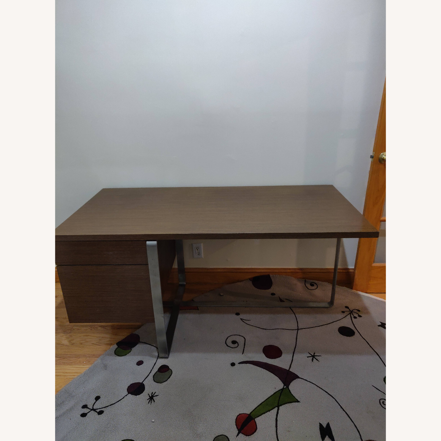 Modern Desk with Metal Accents - image-1