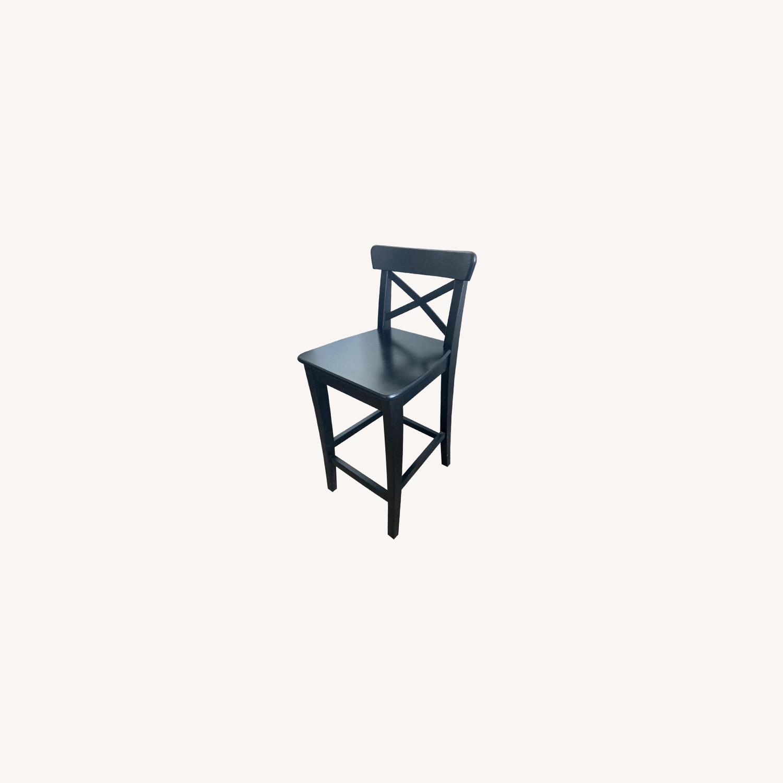 IKEA 2 Black Wooden Bar Stools - image-0