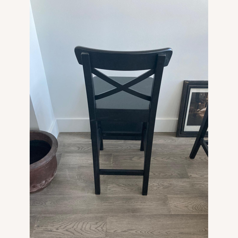 IKEA 2 Black Wooden Bar Stools - image-3