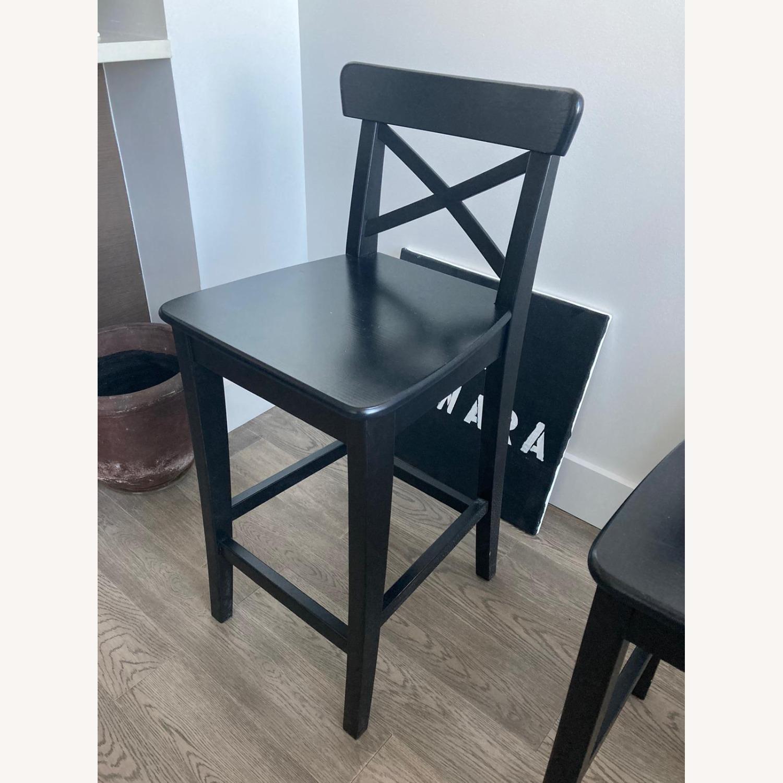 IKEA 2 Black Wooden Bar Stools - image-2