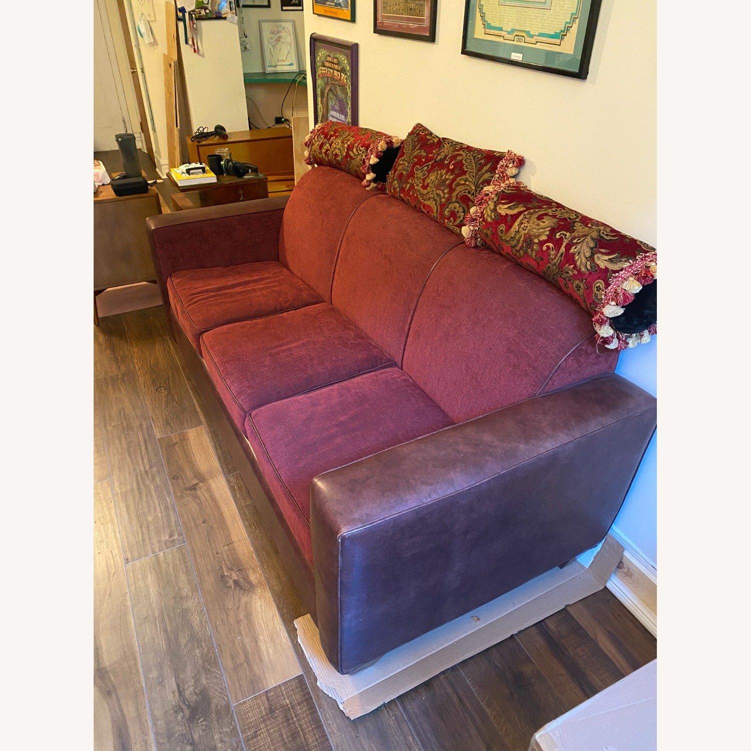 Carlyle Leather and Red Sleeper Sofa - image-5