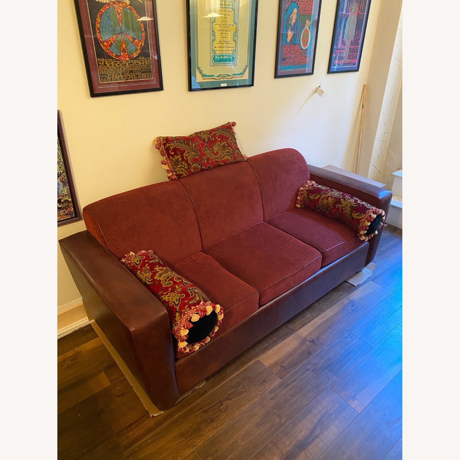 Carlyle Leather and Red Sleeper Sofa - image-1