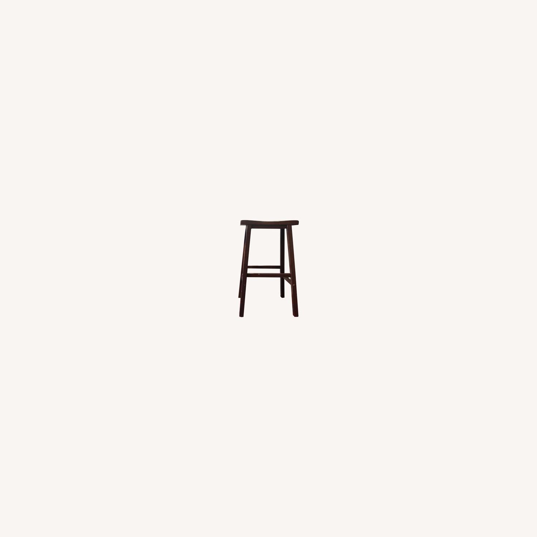 IKEA Dark Wood Saddle Stools - image-0