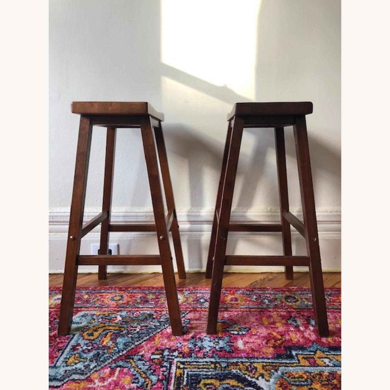IKEA Dark Wood Saddle Stools - image-2