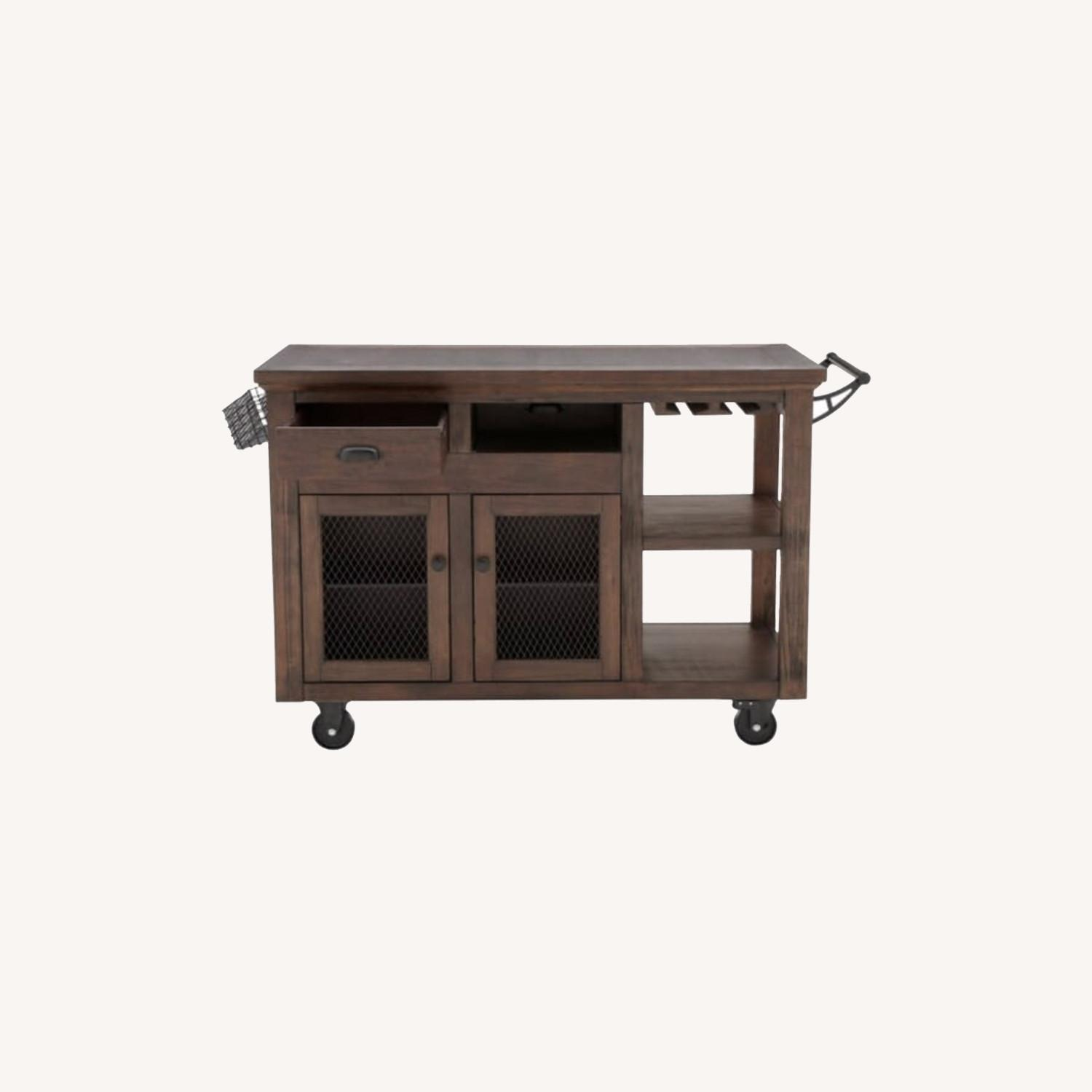 Cooper Rustic Walnut Kitchen Cart with Storage - image-0