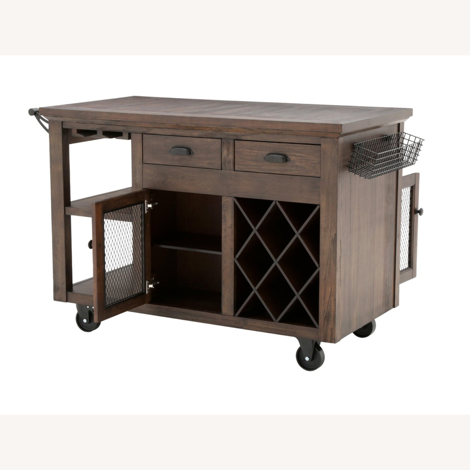 Cooper Rustic Walnut Kitchen Cart with Storage - image-4