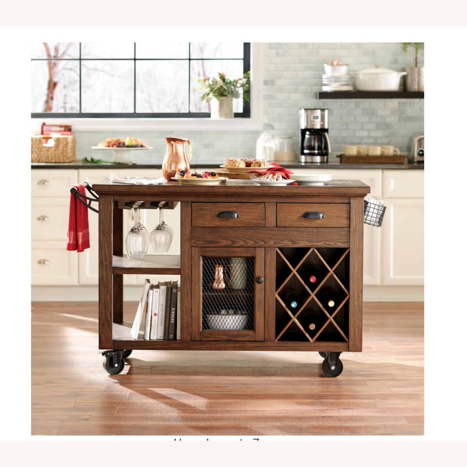 Cooper Rustic Walnut Kitchen Cart with Storage - image-5