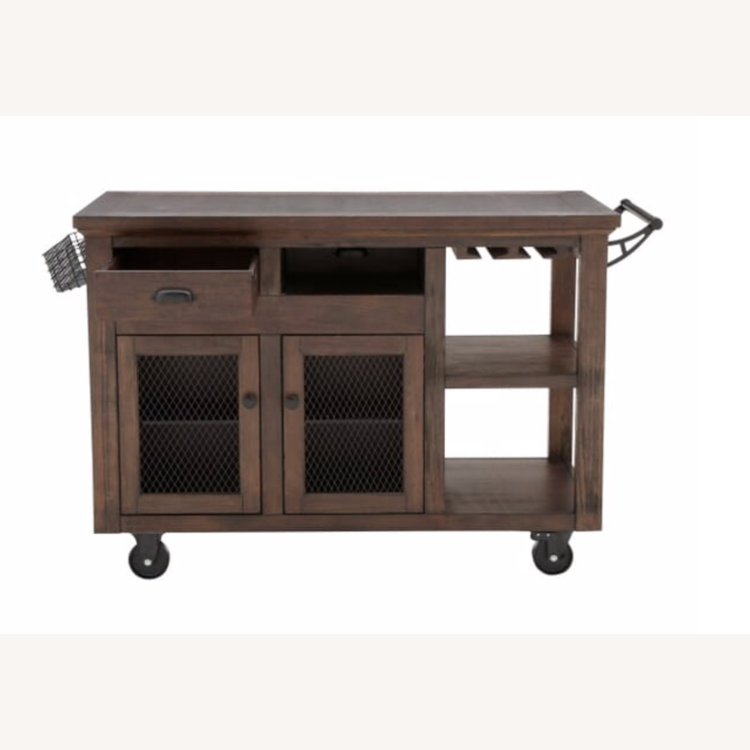 Cooper Rustic Walnut Kitchen Cart with Storage - image-2