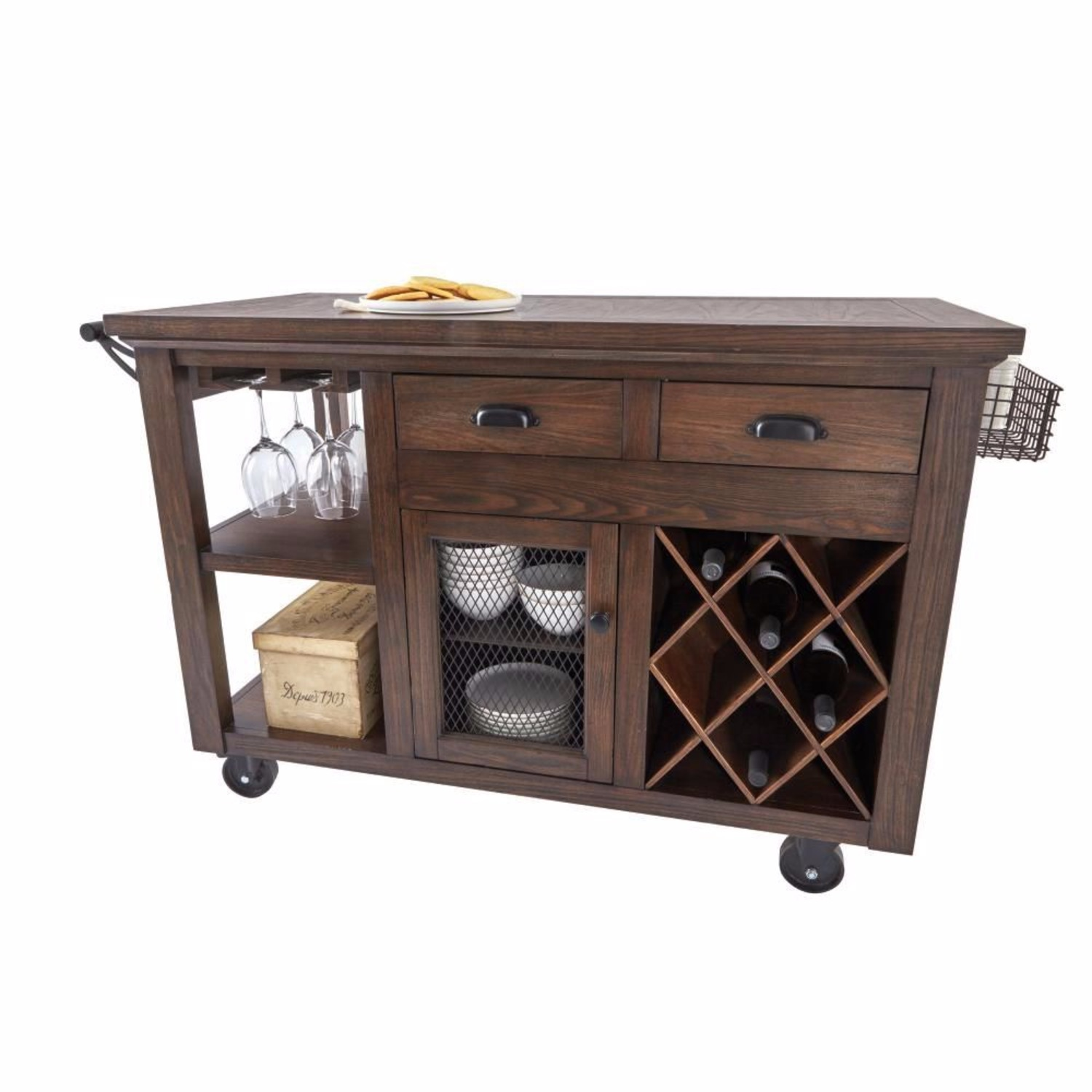 Cooper Rustic Walnut Kitchen Cart with Storage - image-1