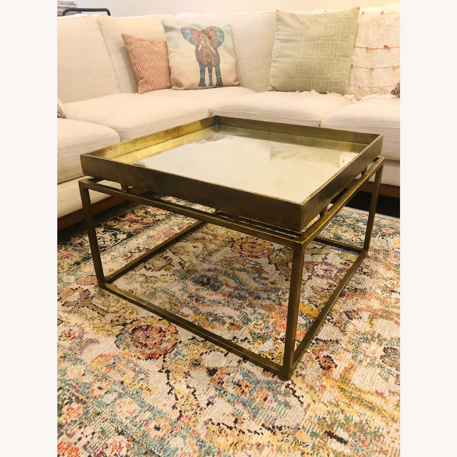 Crate & Barrel Antique Brass Bunching Table - image-1