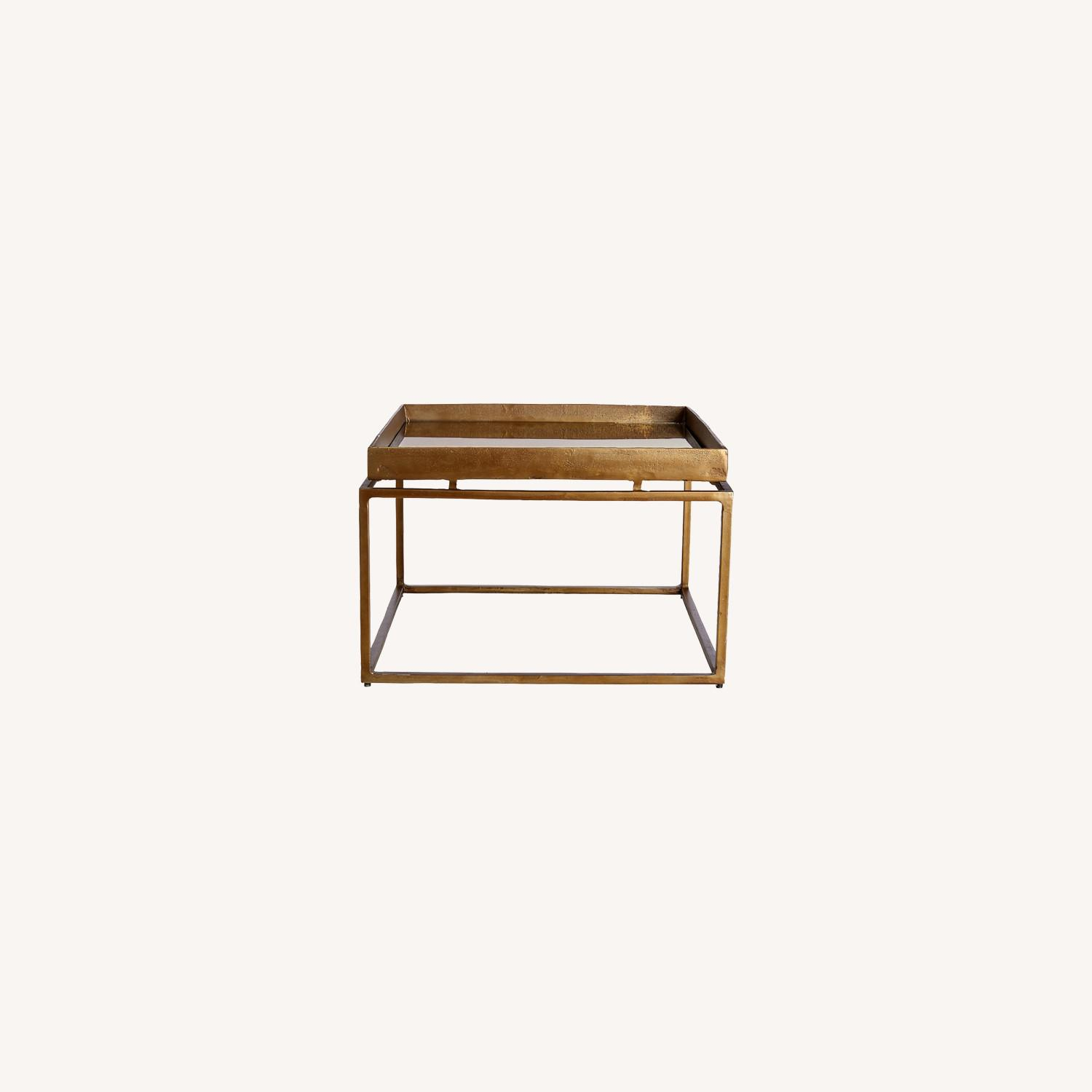 Crate & Barrel Antique Brass Bunching Table - image-0