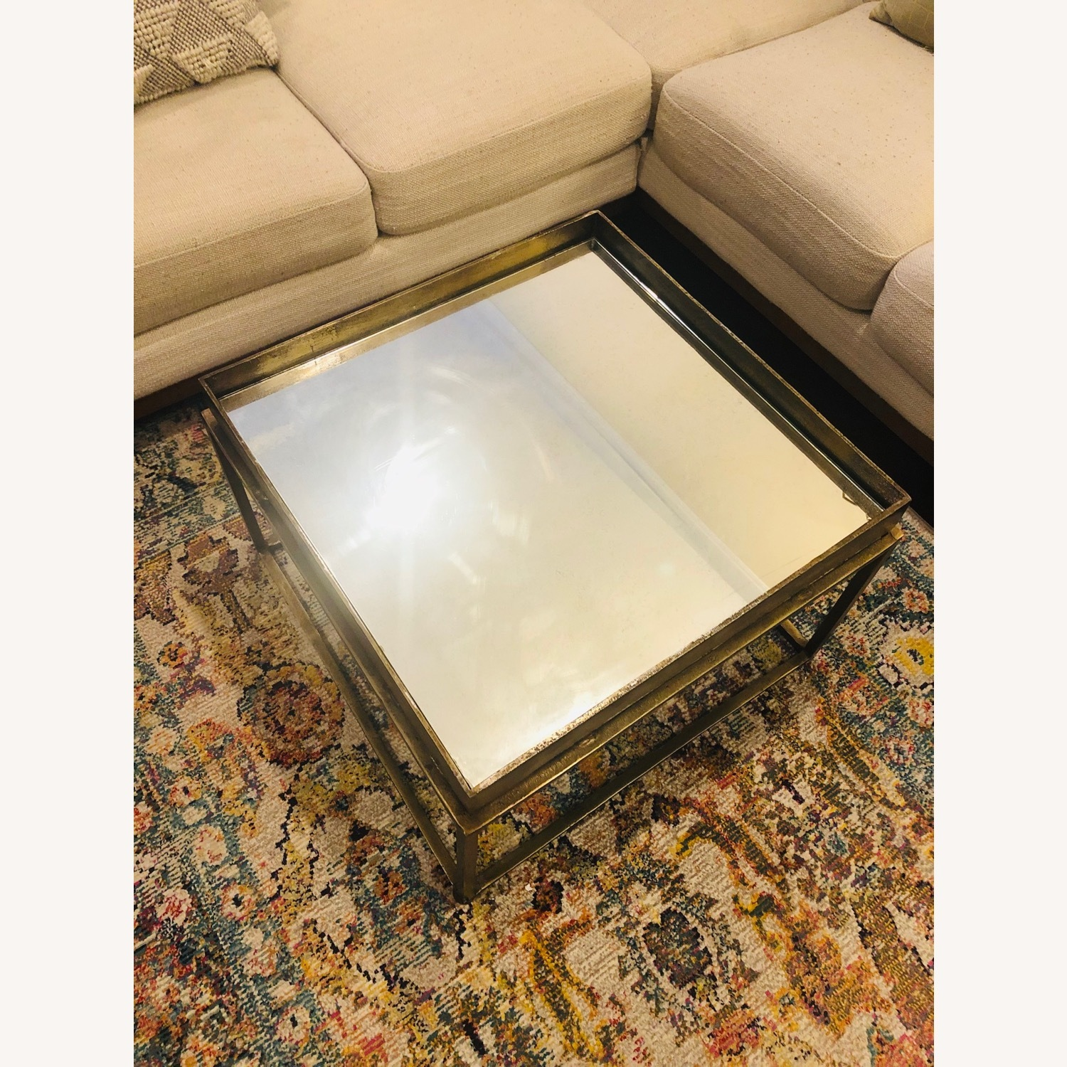 Crate & Barrel Antique Brass Bunching Table - image-2
