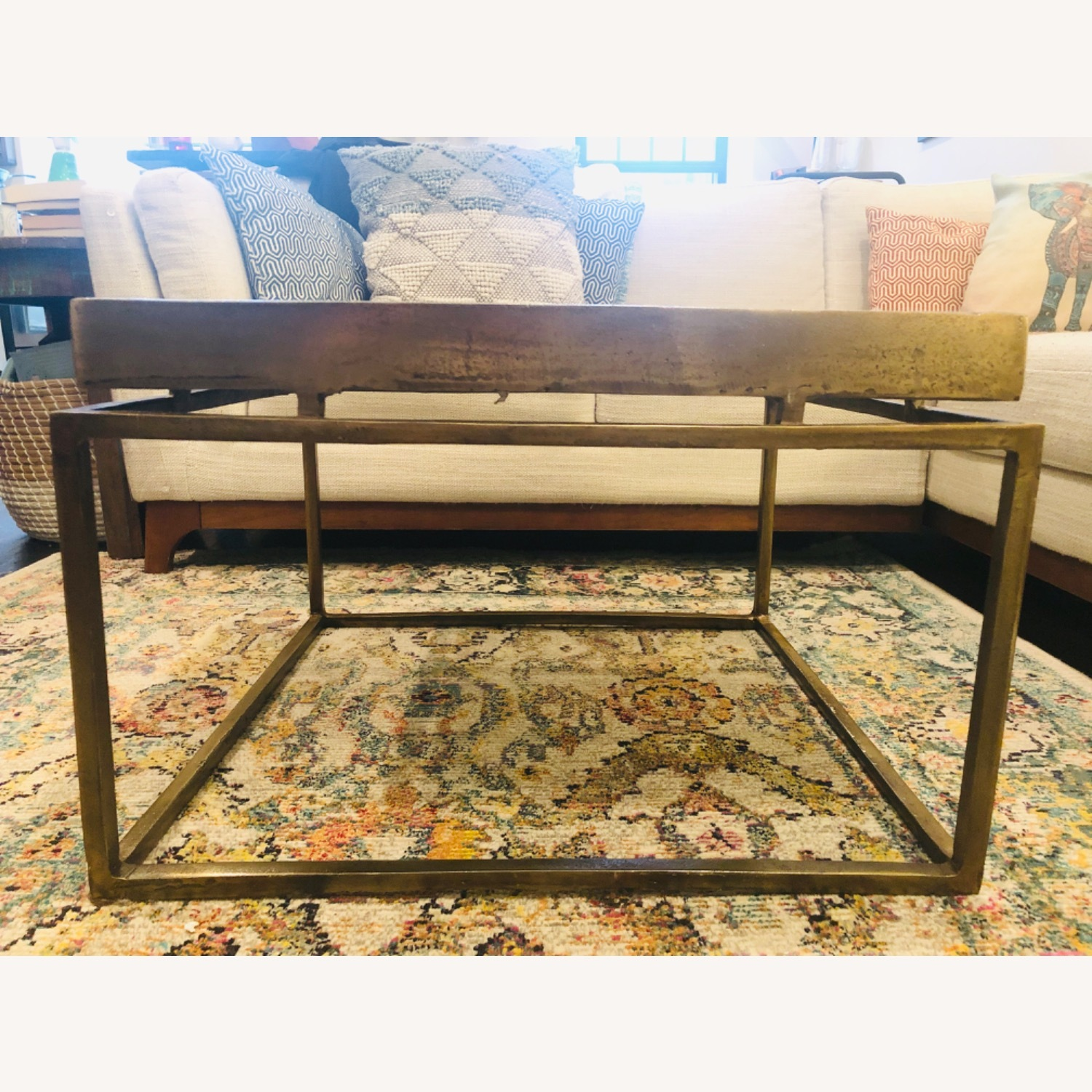 Crate & Barrel Antique Brass Bunching Table - image-3