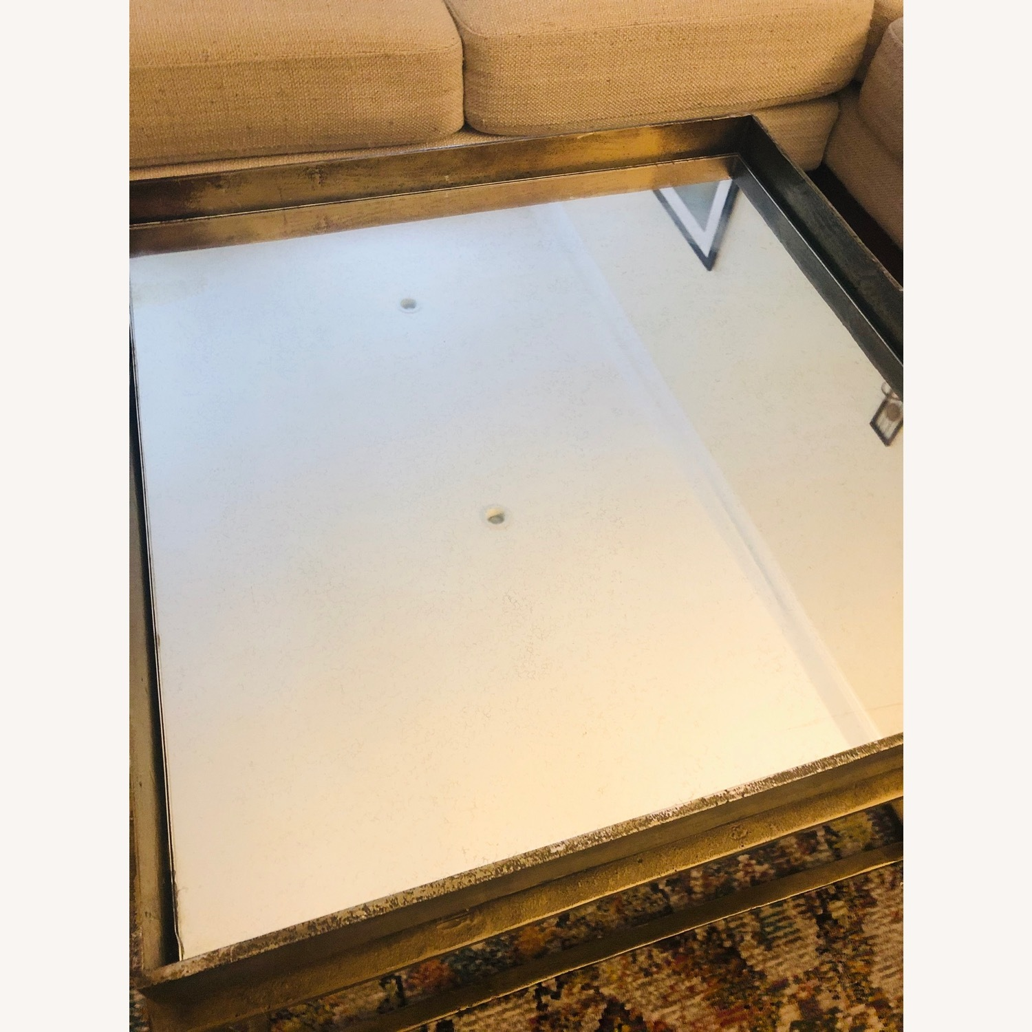 Crate & Barrel Antique Brass Bunching Table - image-5
