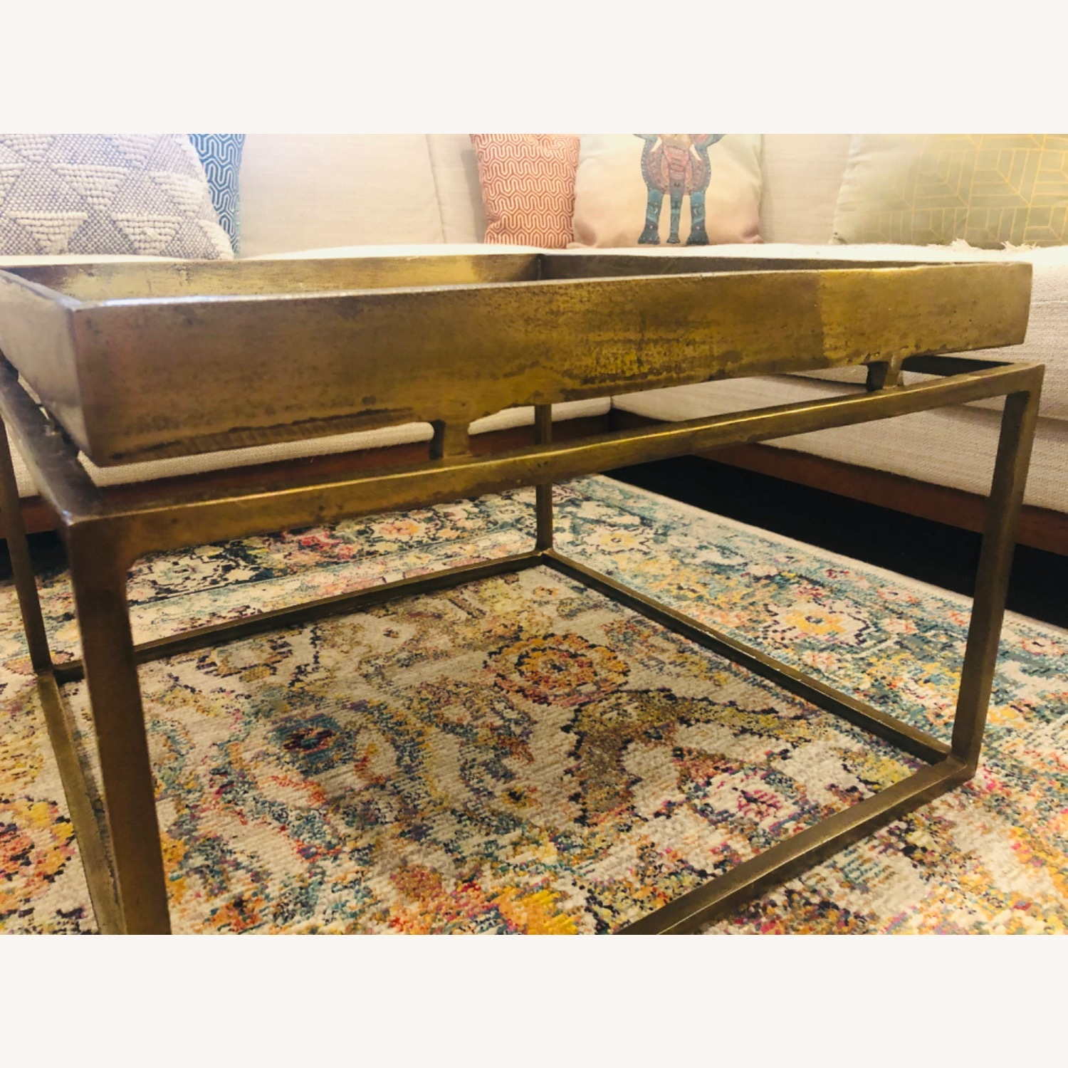 Crate & Barrel Antique Brass Bunching Table - image-4