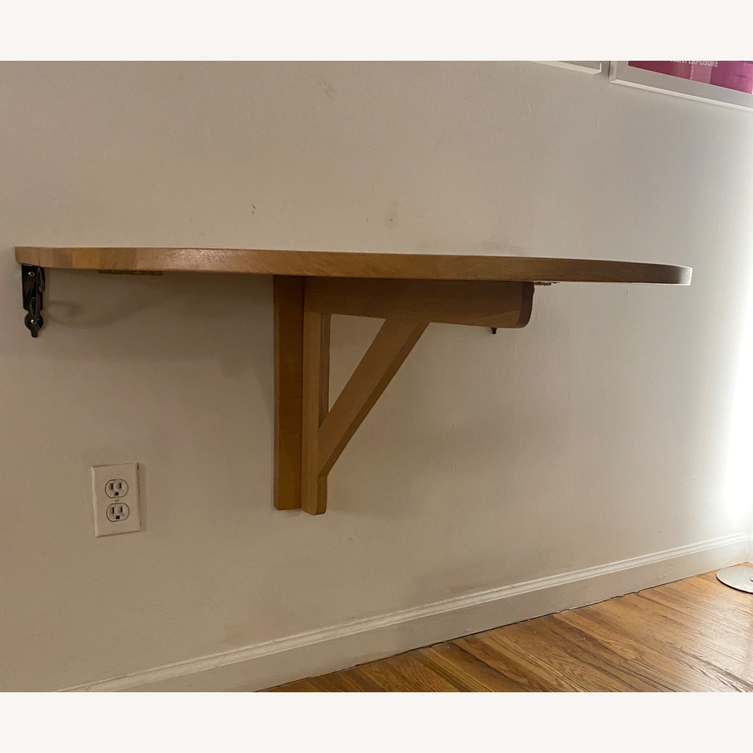Solid Oak Wall Mounted Drop Leaf Table - image-1