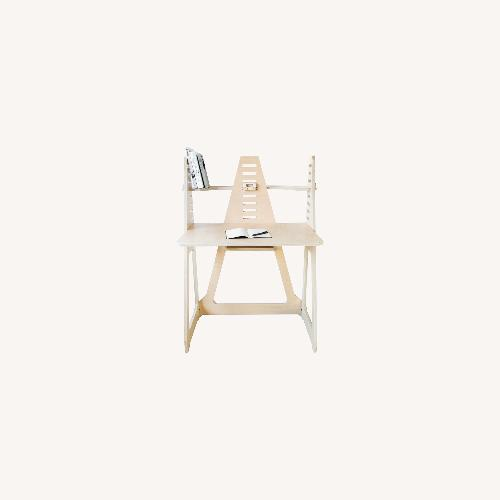 Used WFH Desk & Monitor Stand - Blonde for sale on AptDeco