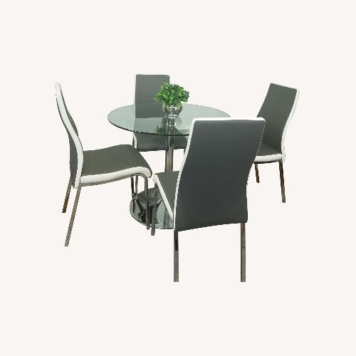 Used AllModern Salerno Gray 5 piece Glass Dining Set for sale on AptDeco