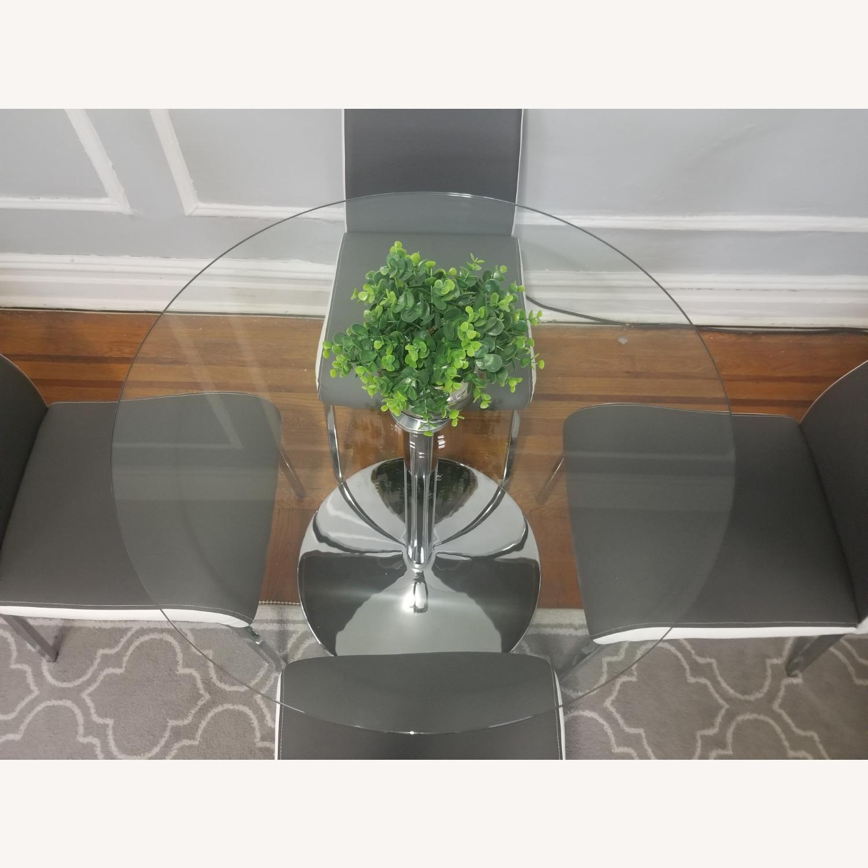 AllModern Salerno Gray 5 piece Glass Dining Set - image-4