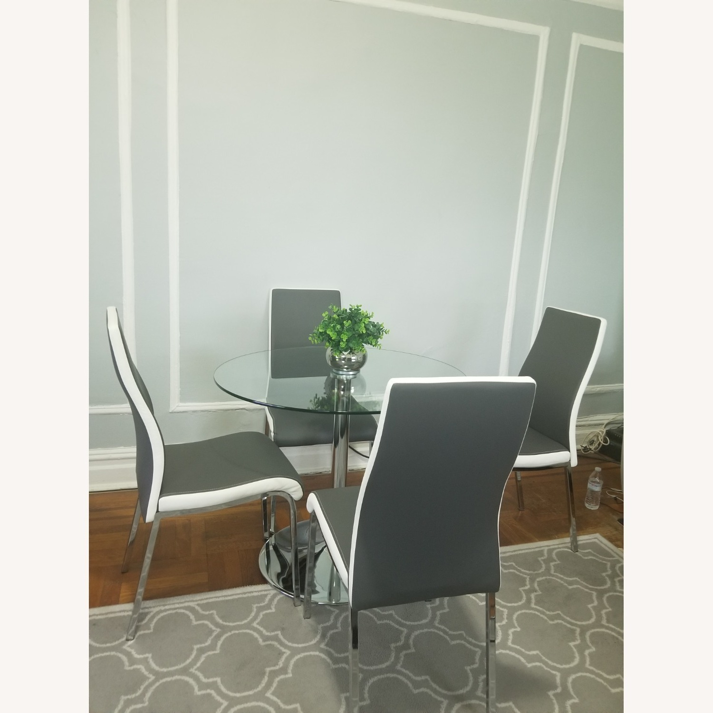 AllModern Salerno Gray 5 piece Glass Dining Set - image-1