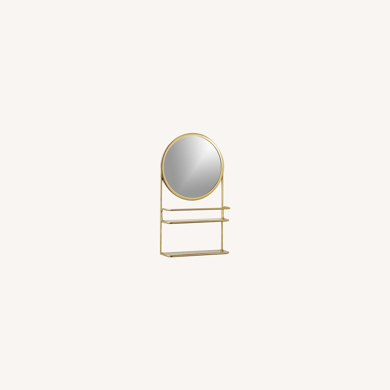CB2 Gold Vanity Mirror w/ Open Shelves - image-0