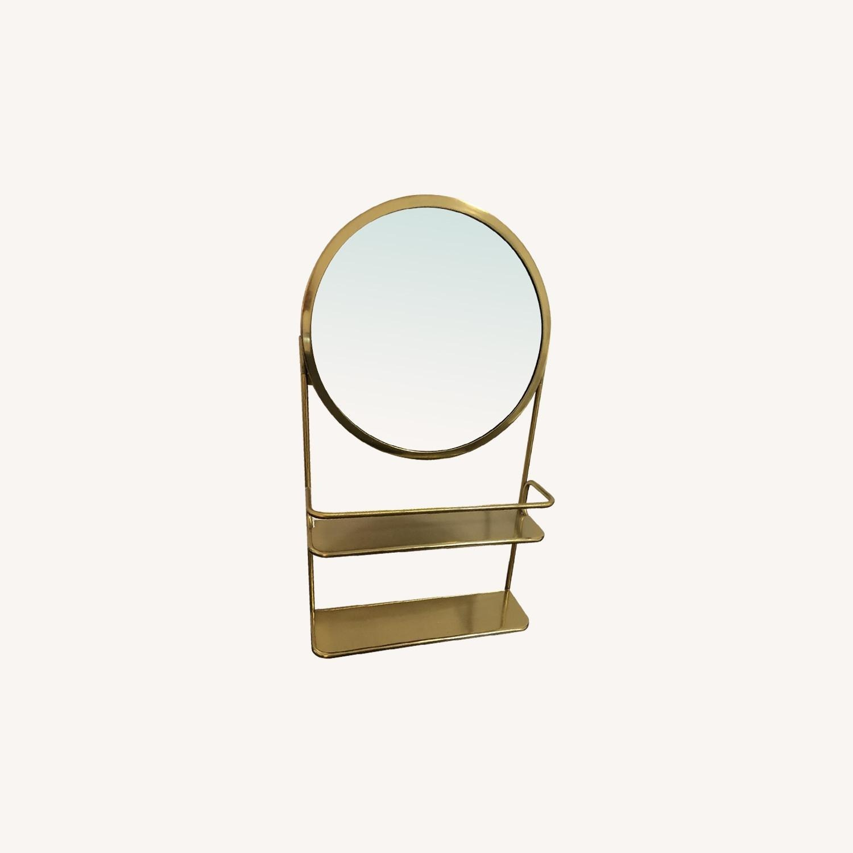 CB2 Gold Vanity Mirror w/ Open Shelves - image-1