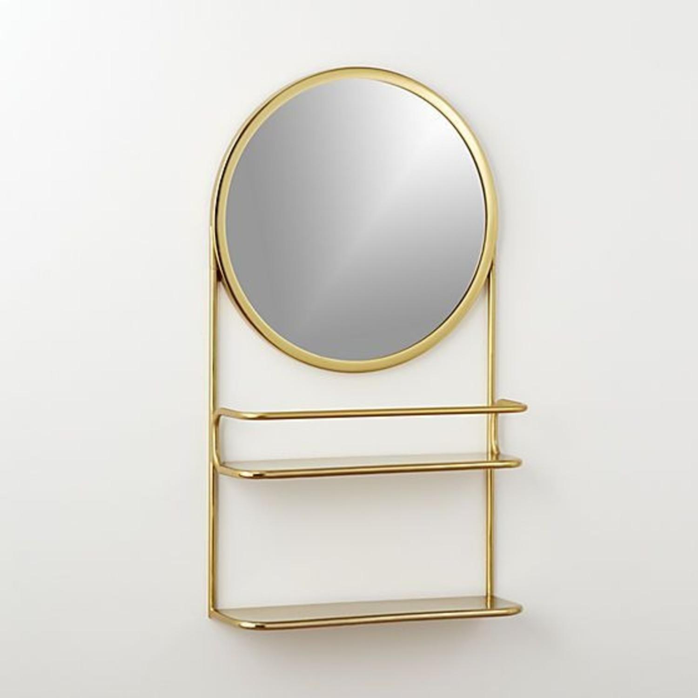 CB2 Gold Vanity Mirror w/ Open Shelves - image-4