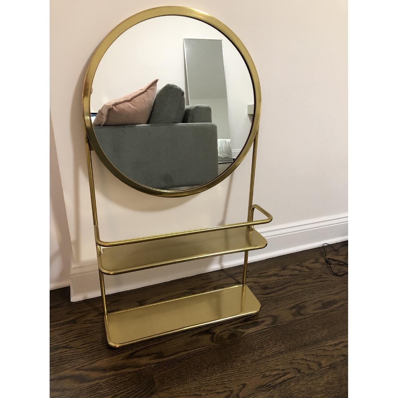 CB2 Gold Vanity Mirror w/ Open Shelves - image-3