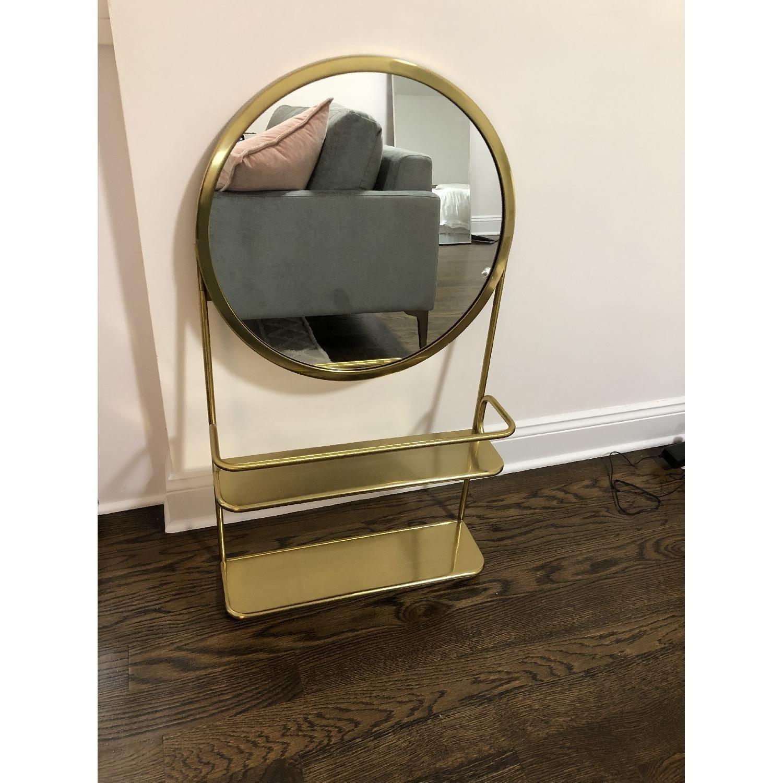 CB2 Gold Vanity Mirror w/ Open Shelves - image-2