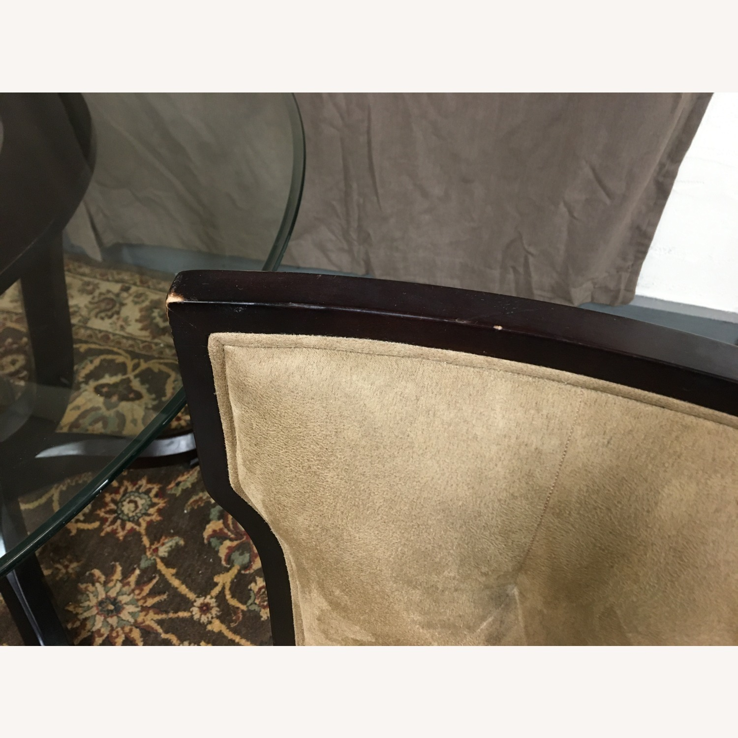 Raymour & Flanigan Glass Table & 4 Basset Padded Chairs - image-7