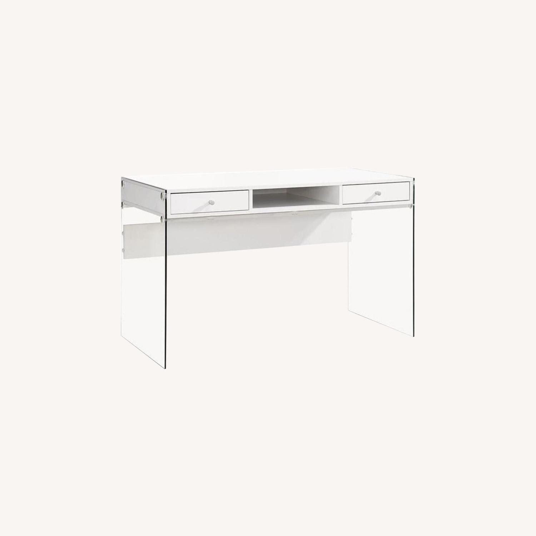 Contemporary Writing Desk in White Finish - image-5