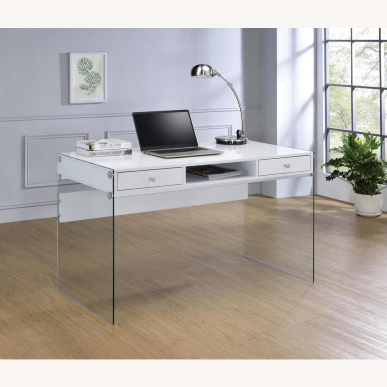 Contemporary Writing Desk in White Finish - image-1