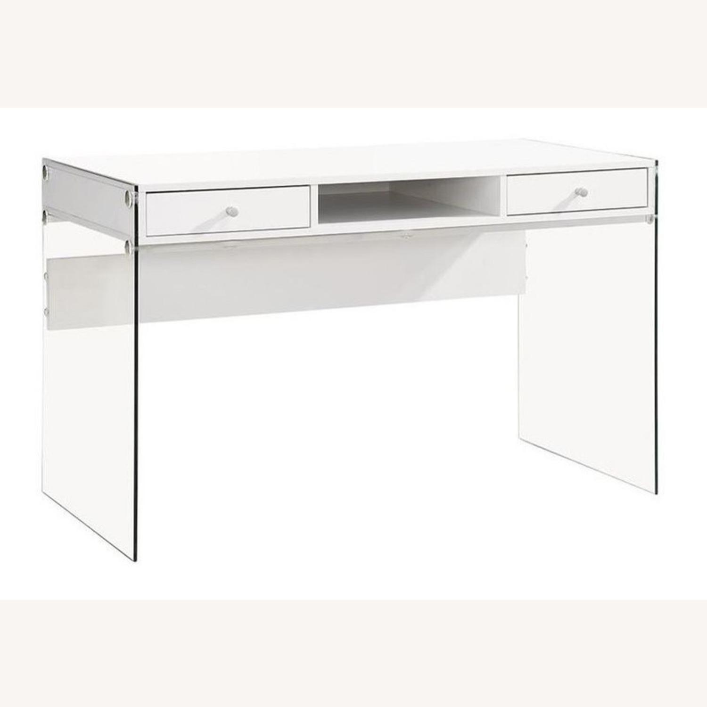 Contemporary Writing Desk in White Finish - image-3