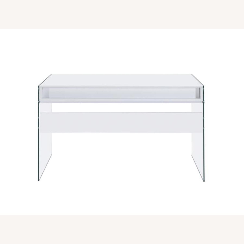 Contemporary Writing Desk in White Finish - image-2
