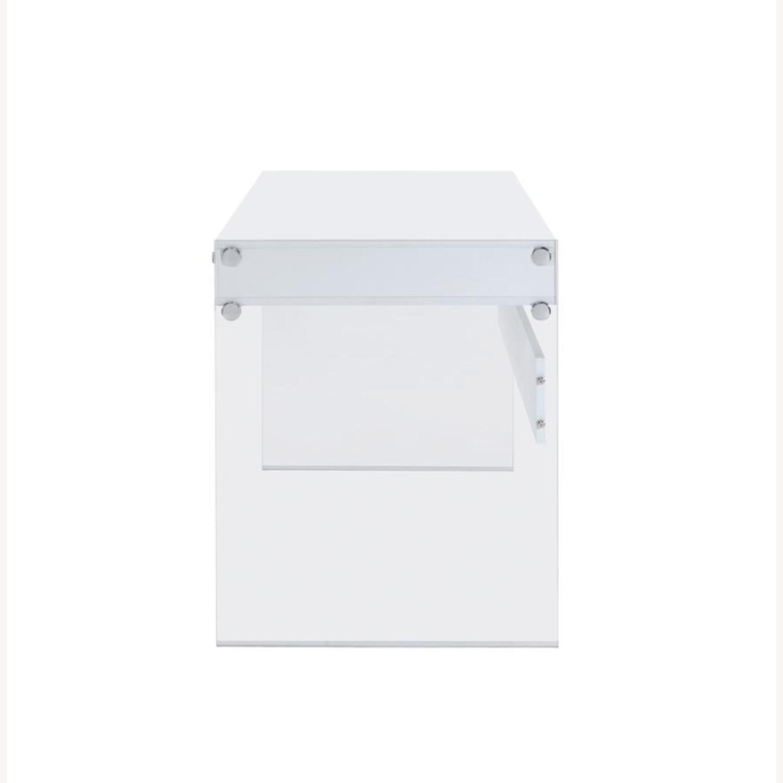 Contemporary Writing Desk in White Finish - image-4