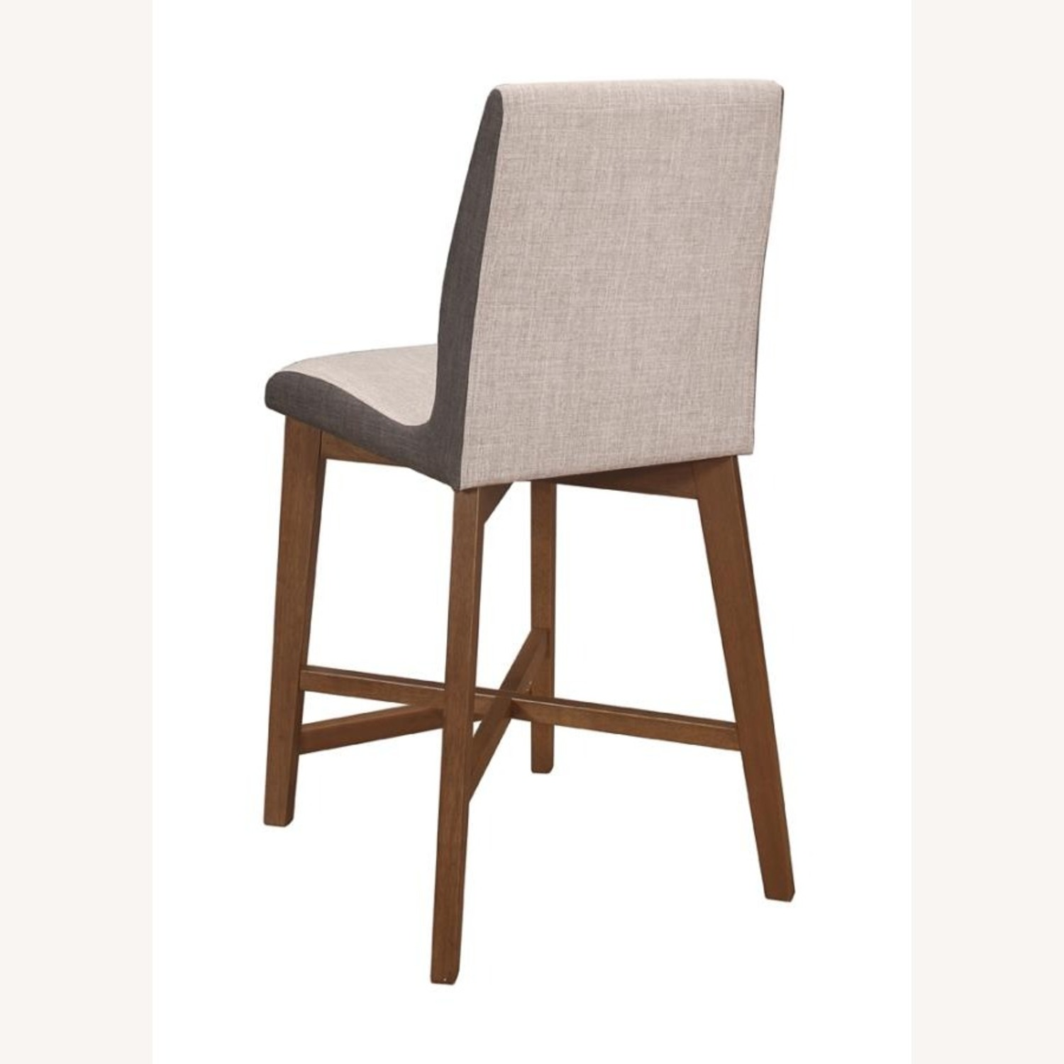 Counter Height Stool In 2-Tone Grey Fabric Finish - image-4
